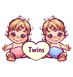 Cartoon little baby twins vector