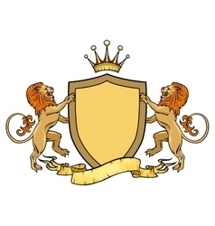 Heraldic lions with shield and ribbon emblem or vector
