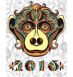 Patterned head of the monkey vector