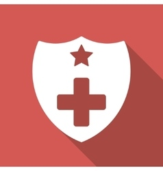 Medical insurance shield flat square icon with vector
