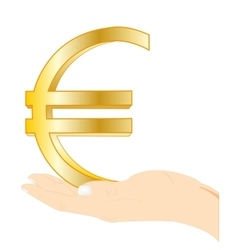 Sign euro in palm vector