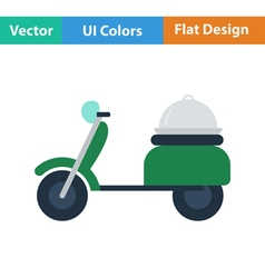 Flat design icon of delivering motorcycle vector