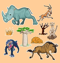 Africa Animals Trees Collection Set 02 vector image vector image