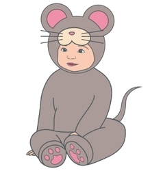 Baby in gray mouse dress vitage vector