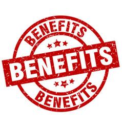 Benefits round red grunge stamp vector