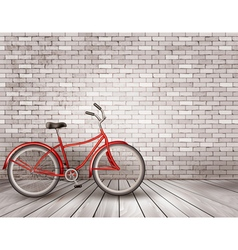 Bicycle in front of a grey brick wall vector