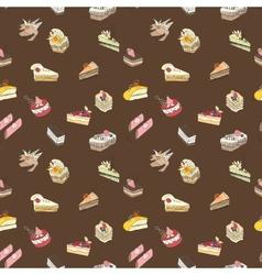 Brown sweet cake pattern vector image