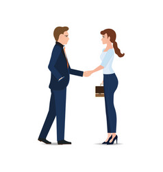 business man and business woman handshake making vector image vector image