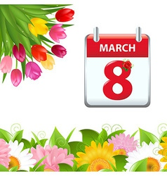 Calendar And Flower Border vector image vector image