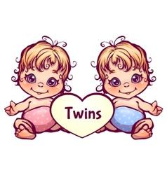cartoon little baby twins vector image vector image