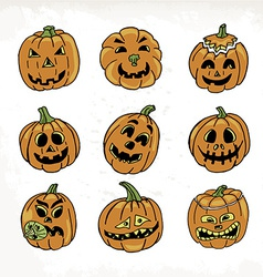 Collection of icons with a terrible pumpkin faces vector image vector image
