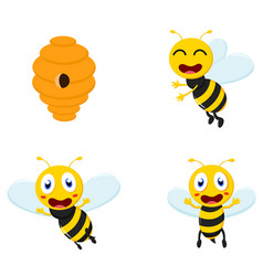 Cute honey bee cartoon collection set vector