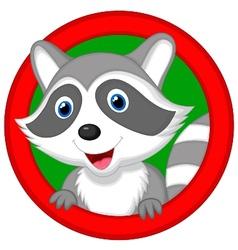 Cute raccoon cartoon posing vector