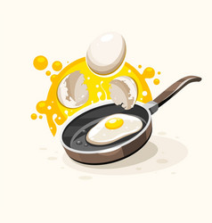 eggs frying on the hot pan vector image