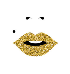 girl face with gold lipstick womens day concept vector image vector image