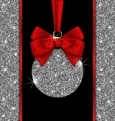 Glitter Card with Christmas Ball and Red Bow vector image vector image