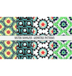 Grunge colorful geometric seamless patterns set vector image