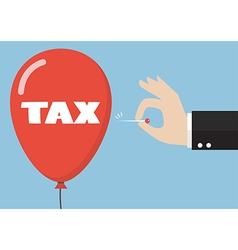 Hand pushing needle to pop the tax balloon vector image vector image