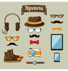 Hipster devices icons set vector image