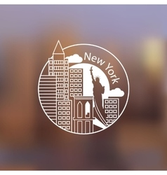 Minimalist round icon of new york usa flat one vector