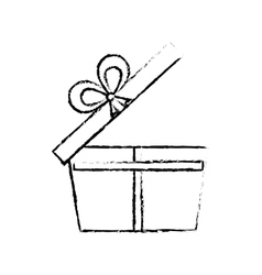 open gift box ribbon wrapped sketch vector image
