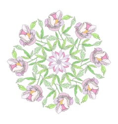 Ornamental round with color peonies vector image