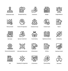project management line icons set 10 vector image