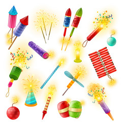 pyrotechnics firework cracker sparkler colorful vector image