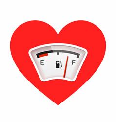 Red heart with fuel gauge love meter valentines vector