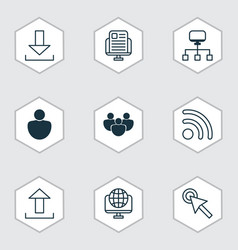Set of 9 world wide web icons includes team blog vector