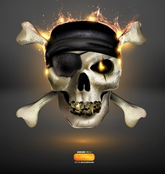 Skull on fire background vector