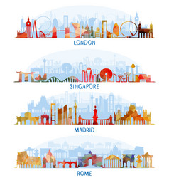 skyline flat set london singapore madrid rome vector image vector image