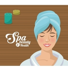 Spa beauty and health woman blue towel vector