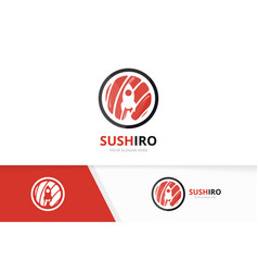 Sushi and rocket logo combination japanese vector