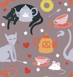 Tea still life and cats seamless pattern vector