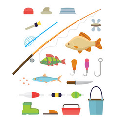 Tools for fishing isolated icons set on white vector