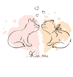 - love cats vector image