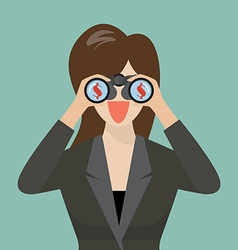 Business woman use binoculars looking for money vector