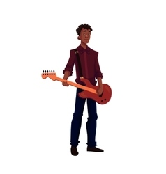 Young African American male electric guitar player vector image
