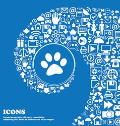 Paw icon sign nice set of beautiful icons twisted vector