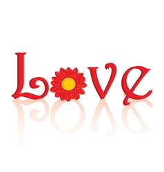 Love text with flower vector