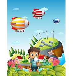 Airships a village and a boy in the garden vector
