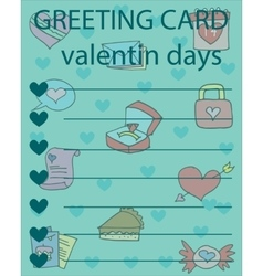Valentine day greeting card collection vector