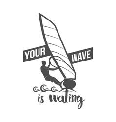 Windsurfing badge logo design elements vector