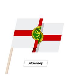 Alderney ribbon waving flag isolated on white vector