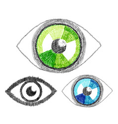 set of hand-drawn human eye vector image