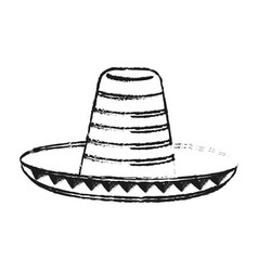 Blurred silhouette mexican hat accesory costume vector