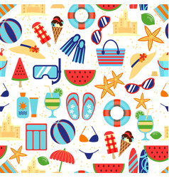 summer beach pattern with umbrella and starfish vector image