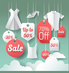 Paper cut out sale tags discount poster design vector