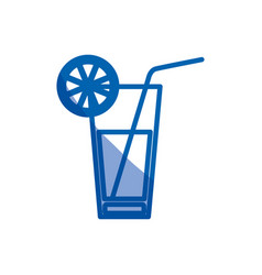Blue shading silhouette of cocktail drink with vector